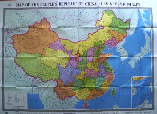 large size china wall map in english and chinese